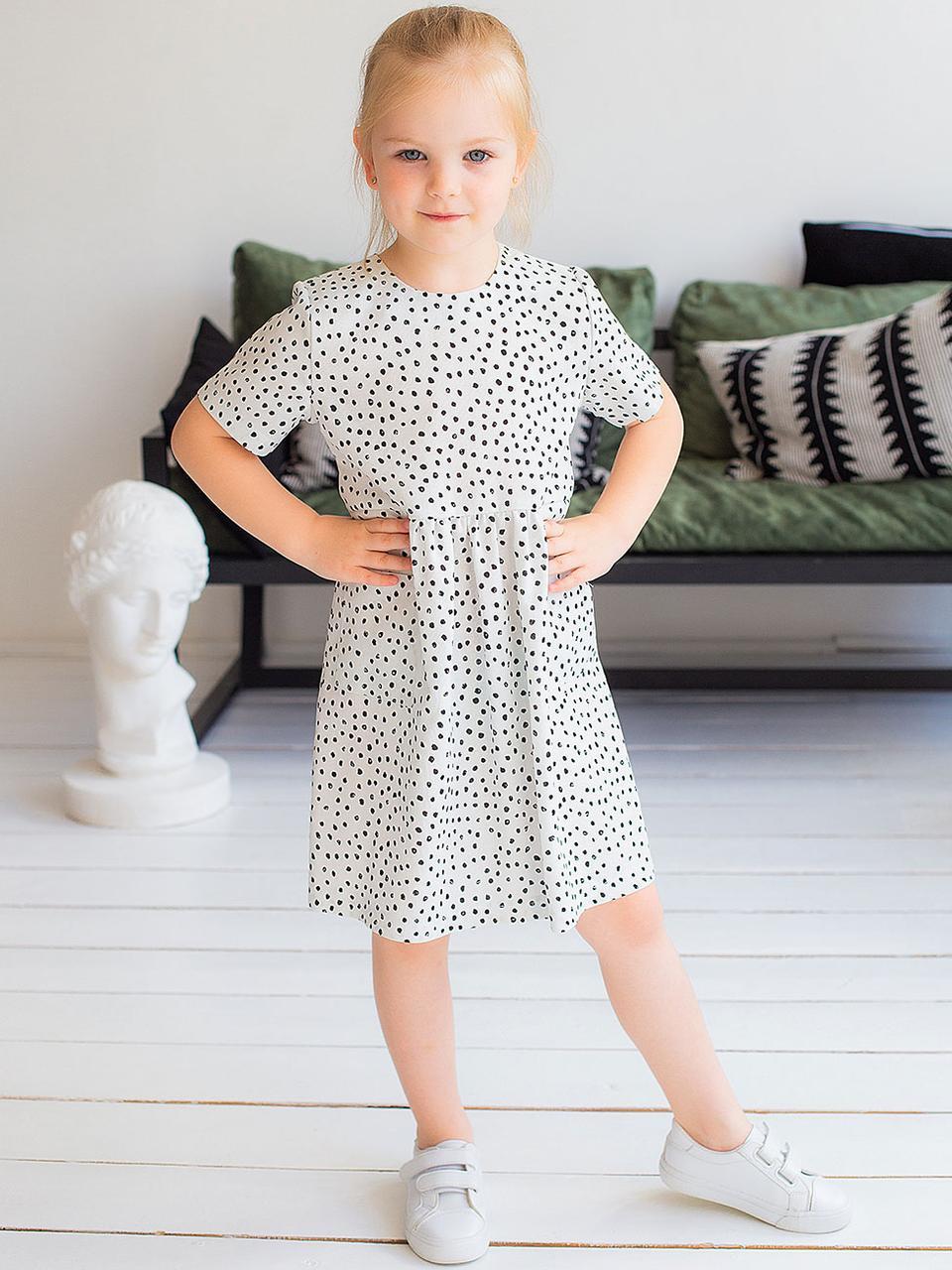 Детское повседневное белое платье в горошек 110