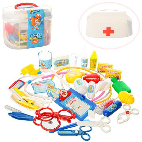 Доктор M 0461 U/R  стетоскоп, шприц, очки, 36предметов, в чемодане, 22-17-12см