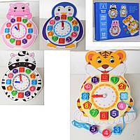 Деревянная игрушка Часы MD 2115 29,5см, шнуровка, 4вида-животные, в кор-ке, 30-23-2,5см
