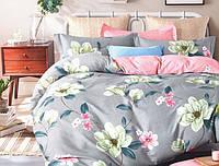 Двуспальный набор постельного белья Черешенка Gold №157405AB 180х220 Бязь Серо-розовый (BC2G157405AB)