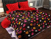Двуспальный набор постельного белья Черешенка Gold №157438AB 180х220 Бязь Красно-черный (BC2G157438AB)