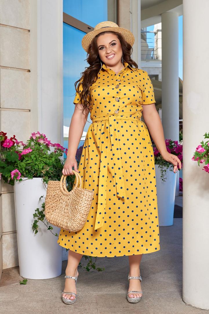 Женское платье-рубашка миди в горошек большие размеры 48-66 горчичный