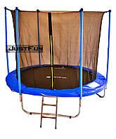 Батут Just Fun BLUE 305 см (10 FT) с внутренней сеткой и лестницей (Спортивный батут)
