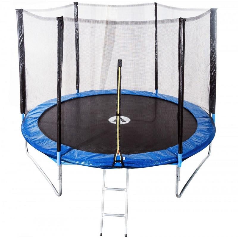 Батут спортивный с сеткой на молнии Atleto 465 см спортивный для активного отдыха (металлическая лестница)