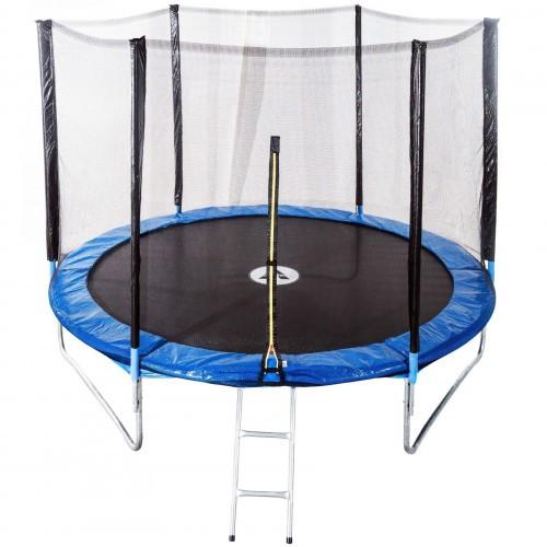 Батут спортивный Atleto 490 см с защитной сеткой 12 опор на молнии для активного отдыха (безопасный лестница)