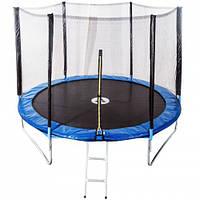 Батут спортивный Atleto 490 см с защитной сеткой 12 опор на молнии для активного отдыха (безопасный лестница), фото 1