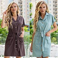 Женское короткое летнее платье рубашка коричневое оливковое с карманами поясом 42 44 46 48 софт на пуговицах