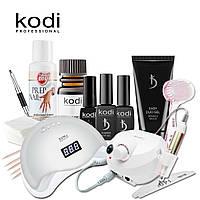 Набор для наращивания ногтей с полигелем Kodi с UV-LED SUN 5+ 48 вт и фрезером Nail Drill