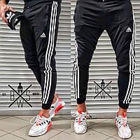 Спортивные штаны мужские Adidas (Адидас) трикотажные черные осенние | весенние | летние ЛЮКС качества