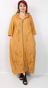 Турецкое женское платье кардиган с капюшоном, большие размеры 52-64