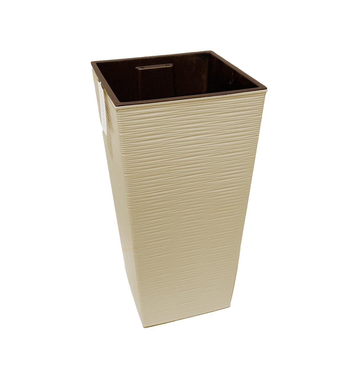 Кашпо декоративное напольное Ламела Финезия ДОЛОТО кремовый 300х300х570