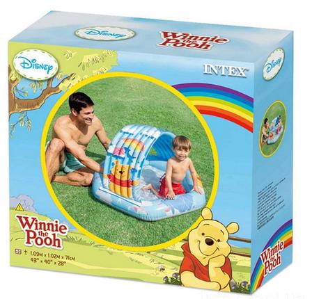 Детский надувной бассейн Intex 58415 «Винни Пух», 109 х 102 х 71 см, с навесом, фото 2