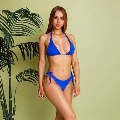 Синий раздельный купальник на завязках женский