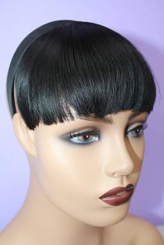 Челка на обруче искусственные волосы термоволокно черная