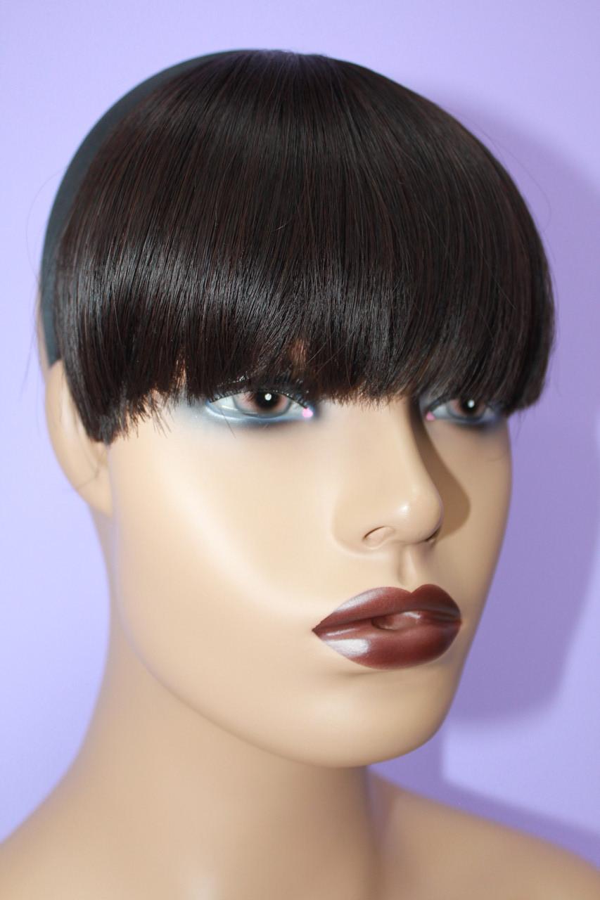 Челка на обруче искусственные волосы термоволокно темный шоколад