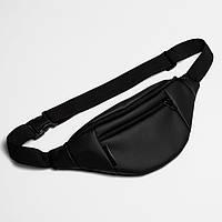 Поясная сумка Twins кожаная черная