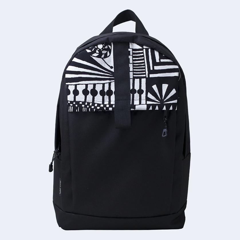 Рюкзак кожаный Twins с белым орнаментом черный