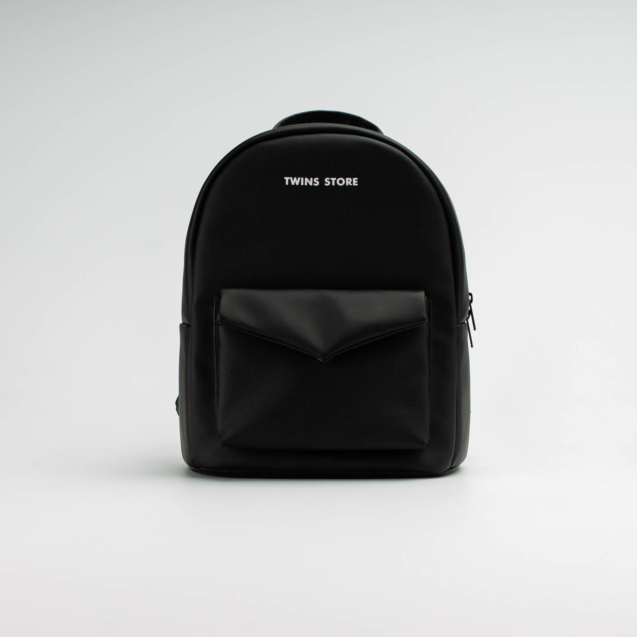 Рюкзак шкіряний Twins чорний
