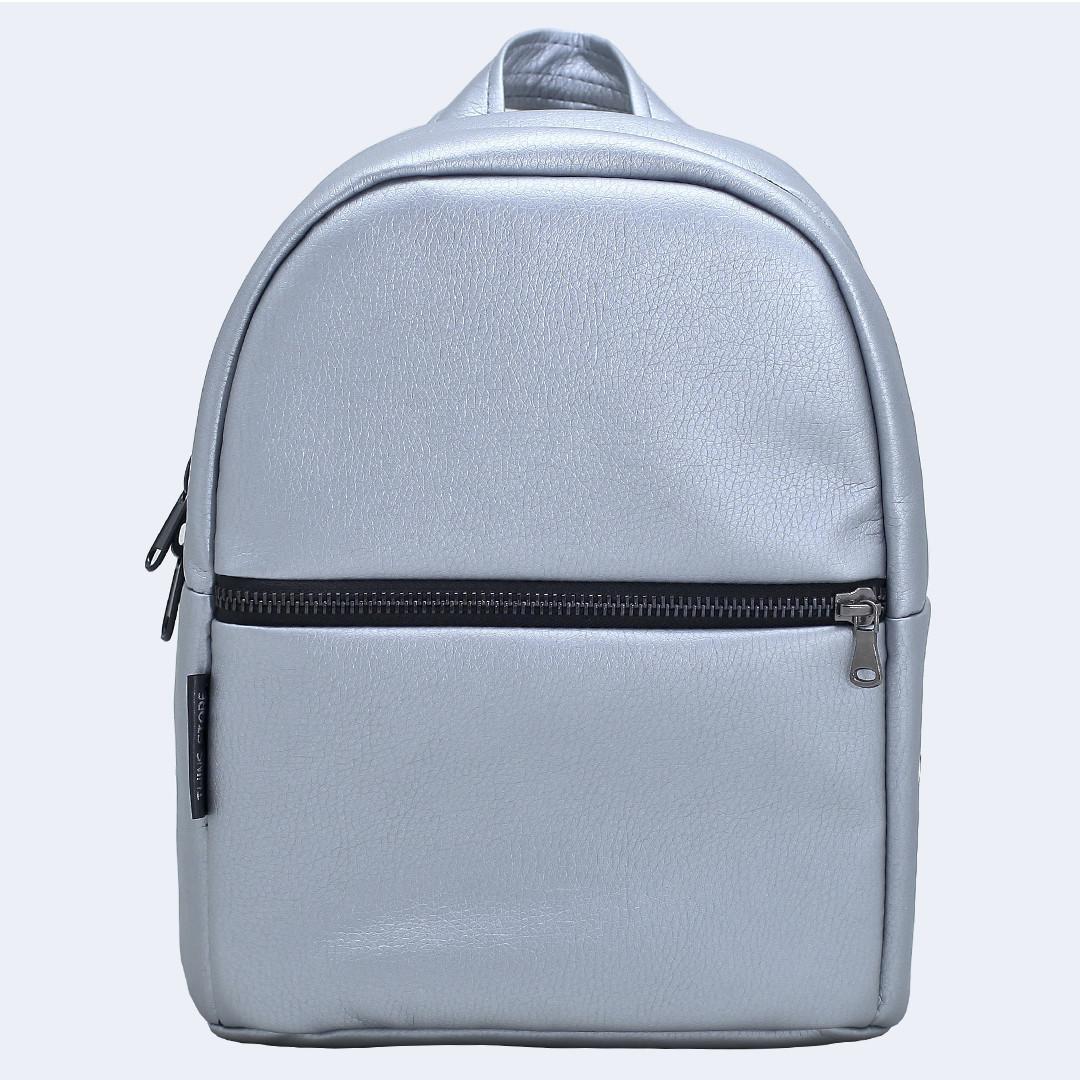 Рюкзак кожаный Twins small серебряный
