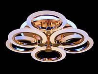 LED-люстра с диммером в спальню с цветной подсветкой цвет золото 85W Diasha&A8022/3+3G LED 3color dimmer