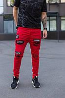 Модные мужские рваные джинсы MN Jeans красные - 29, 31, 32, 33, 34, 36