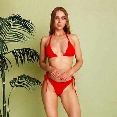 Червоний купальник роздільний жіночий на зав'язках