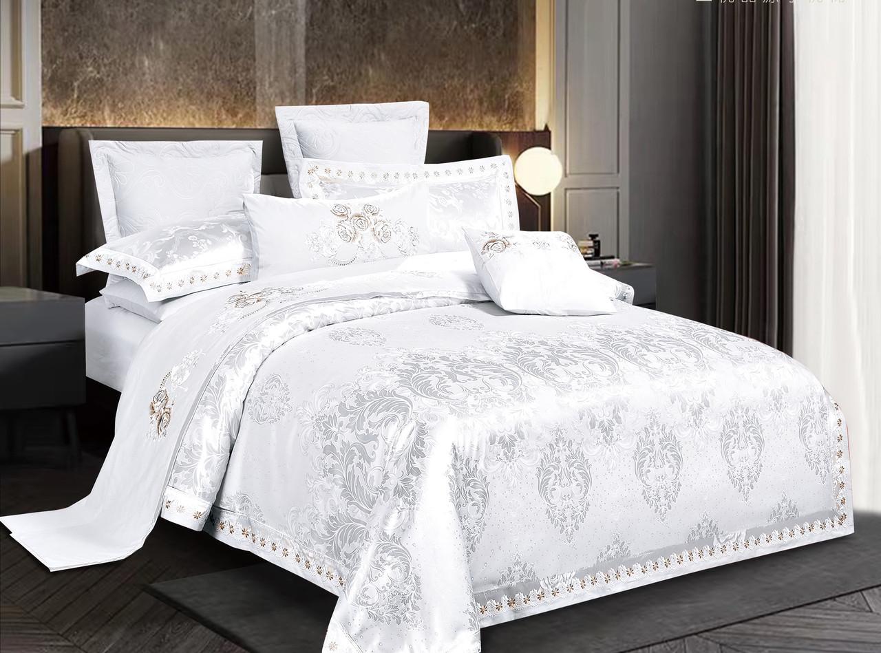 Комплект постельного белья Bella Villa Евро сатин жаккард белый с вышивкой