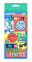 Олiвцi 12 шт 24 кольора Smiley World blue, Yes (12)