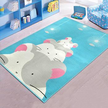 Ковер для детской комнаты на резиновой основе Berni Хомячки 100х130см Разноцветный (45570)