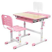 Парта ученическая детская Bambi M 3823A(2)-8 Розовая | Комплект растущая парта и стул