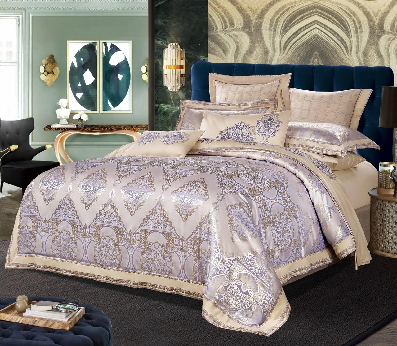 Комплект постельного белья Bella Villa Евро сатин жаккард бежево-фиолетовый с кружевом
