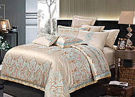 Комплект постельного белья Bella Villa Евро сатин жаккард бежевый  с вышивкой