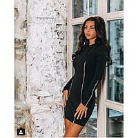 Платье женское черное с молниями Рио 382