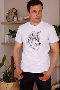 Белая трикотажная мужская футболка с рисунком Волка гладью