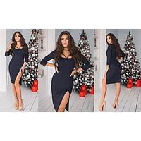 Женское черное платье с разрезом Нотка 2141