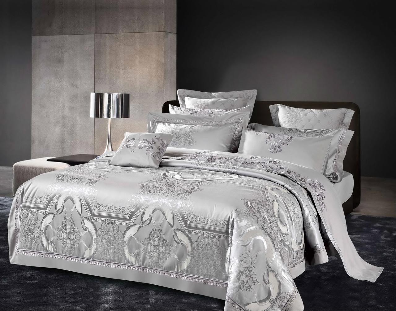 Комплект постельного белья Bella Villa Евро сатин жаккард серый с кружевом