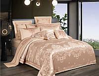 Комплект постельного белья Bella Villa Евро сатин жаккард золотисто-коричневый с кружевом