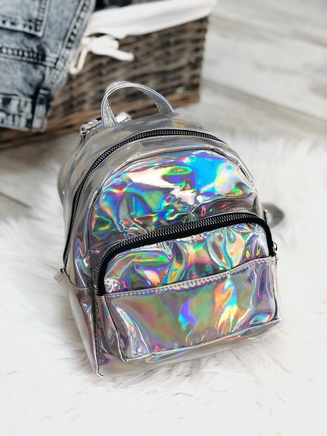 маленький голограммный рюкзак срібло