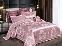 Комплект постельного белья Bella Villa Евро сатин жаккард розовый с кружевом