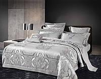 Комплект постельного белья Bella Villa Семейный сатин жаккард серый с кружевом
