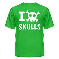 Стильная молодёжная футболка с нанесением прикольной надписи Love skulls