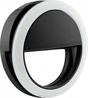 Светодиодное кольцо для селфи, подсветка на телефон, Selfie Ring XJ-01, селфи лампа, цвет корпуса - черный | 🎁%🚚, Аксессуары для мобильных устройств