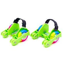 """Ролики четырехколесные на обувь (на пятку) """"Flashing roller"""" (green) съемные пяточные ролики, Гироскутеры,"""