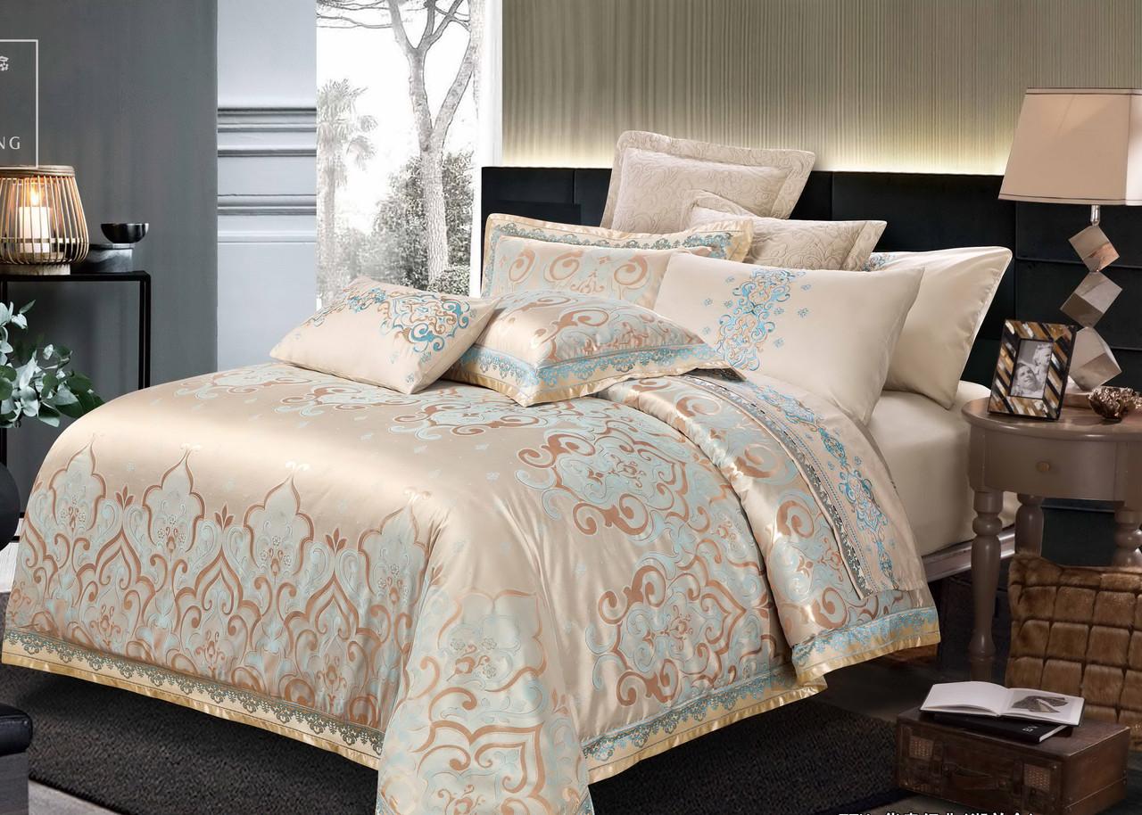 Комплект постельного белья Bella Villa Семейный сатин жаккард бежевый  с вышивкой
