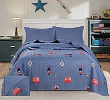 Покривало стьобане синього кольору ТМ Bliss 160х220 см