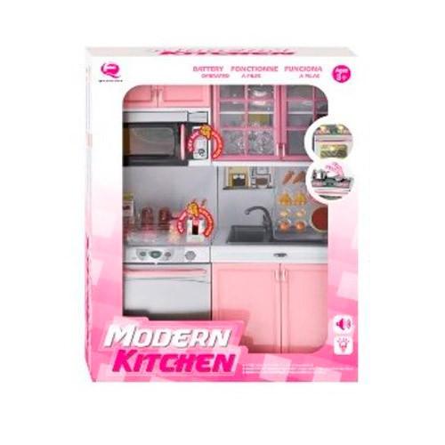 Мебель QF26216P (18шт) кухня,32-24-7см,микроволн,мойка,звук,свет,посуда,бат(табл),в кор, 27-35-9,5см