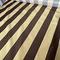 Ткань для тентов полоска коричневая и молочная оксфорд, ш. 150 см