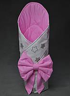 Летний конверт на выписку розовый Звезды