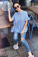 Женская стильная рубашка в клетку, фото 1