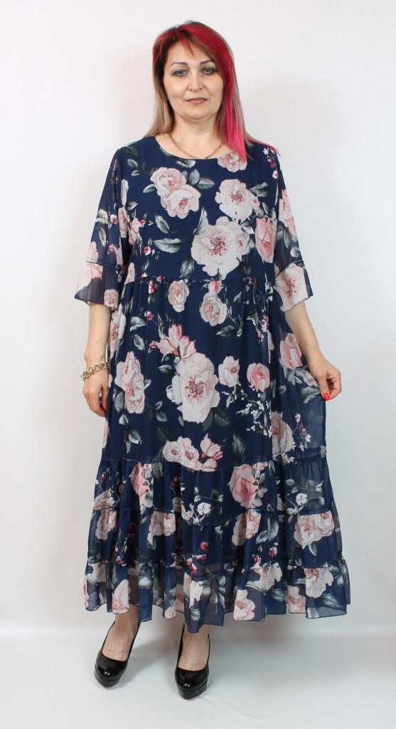 Турецкое женское летнее платье в цветок, больших размеров 56-64
